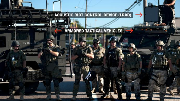 If you had to take a double take, these are police officers, not soldiers.