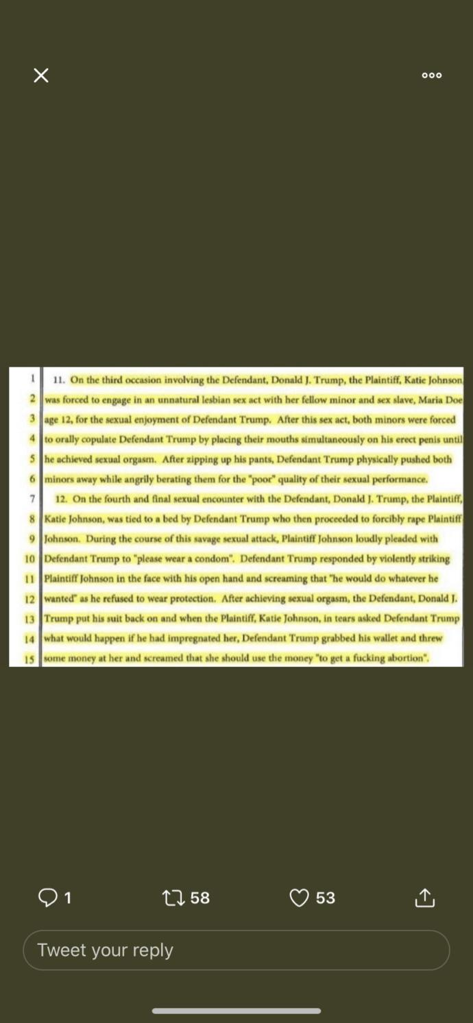 Leaked documents expose that trump raped several minors and was involved with Epstein. Thought?