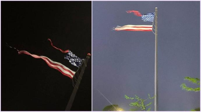 During a storm the other day, the worlds largest American flag was ripped in half & the Washington Monument was struck by lightning. Thoughts?