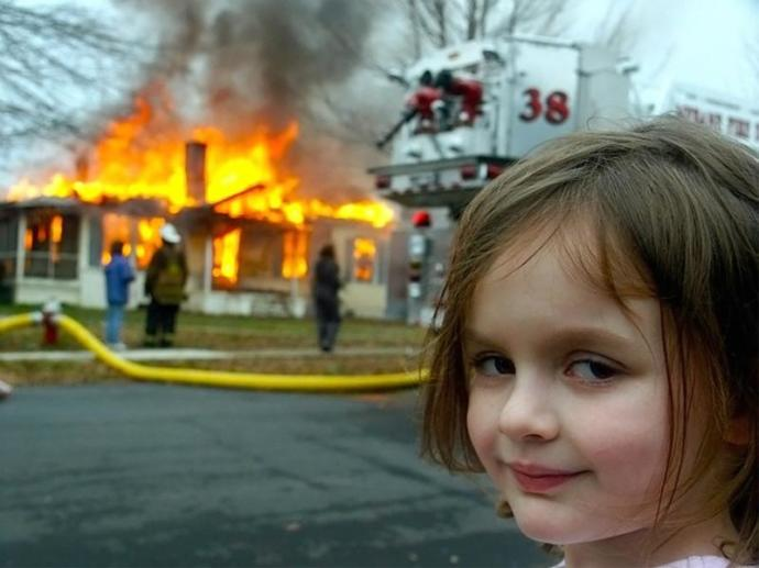 Infamous 4 yr old Zoe Roth, aka Disaster Girl, 2004 meme sensation (dont worry, its just a joke.)