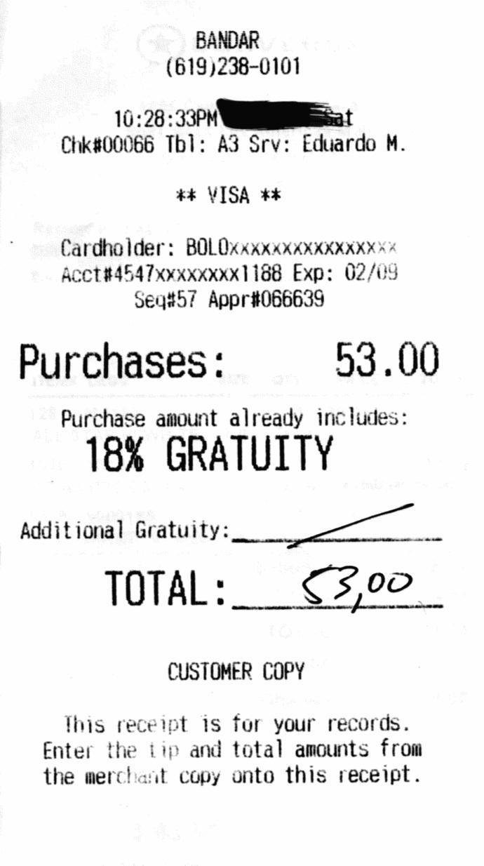 Should there be a minimum gratuity charge to the food purchased on the bill at the restaurant and if so, which percent?