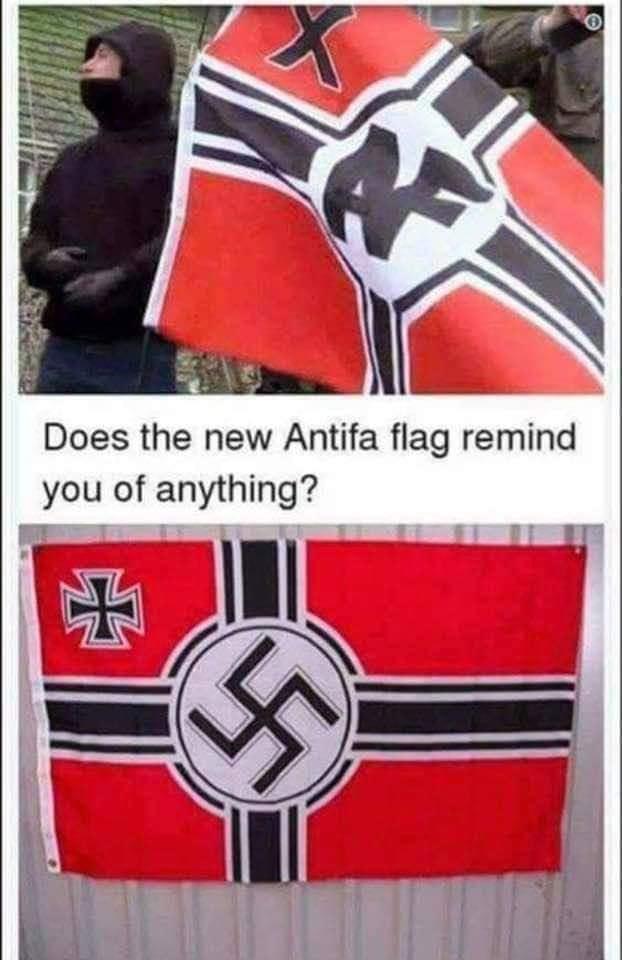 Doesnt the Antifa Flag look eerily like the nazi flag?