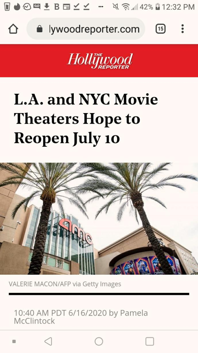 Are you planning on going back to movie theaters when they open back up?