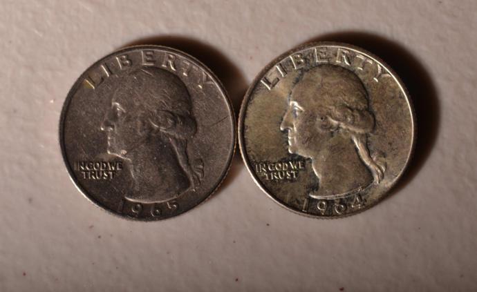 Quarter left melt value of $0.03 Quarter on right melt vale is $3.18