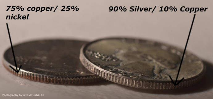 PRE-1965 US dimes, quarters, dollars and half dollars were 90% silver