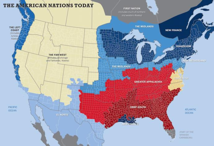 Map showing divisions within the United States and adjoining countries.
