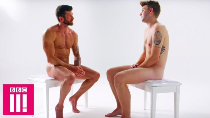 Two nude men having a conversation? The horror!