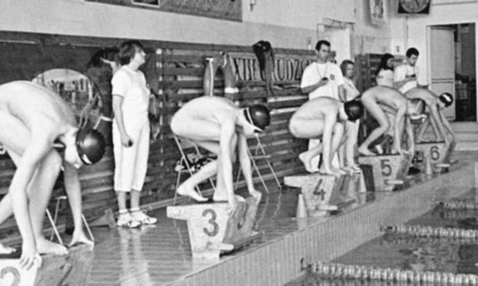 Men once swam nude in school even!