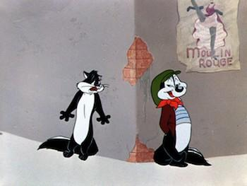 Pepe le Pew and his prey, er... love interest