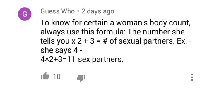 Is this formula for womens body count legit?