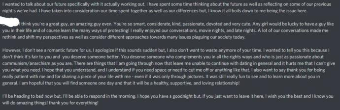 What can I think given this breakup text?
