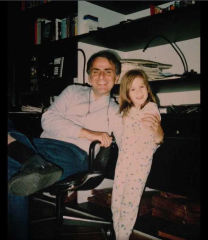 This is Carl Sagan (50) with his daughter Sasha Sagan (3) in 1985. How do you feel about this?