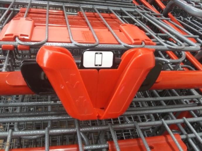 What do you think of this phone holder on a shopping cart and have you seen them before?