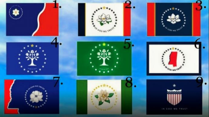 Mississippi is considering changing its flag. Which of the 9 designs below would you like to see Mississippi fly on their flag poles & masts?