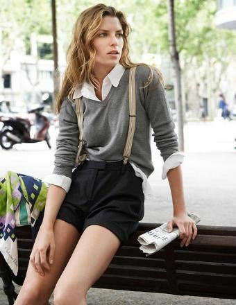 Which picture of a girl in suspenders is the most interesting?