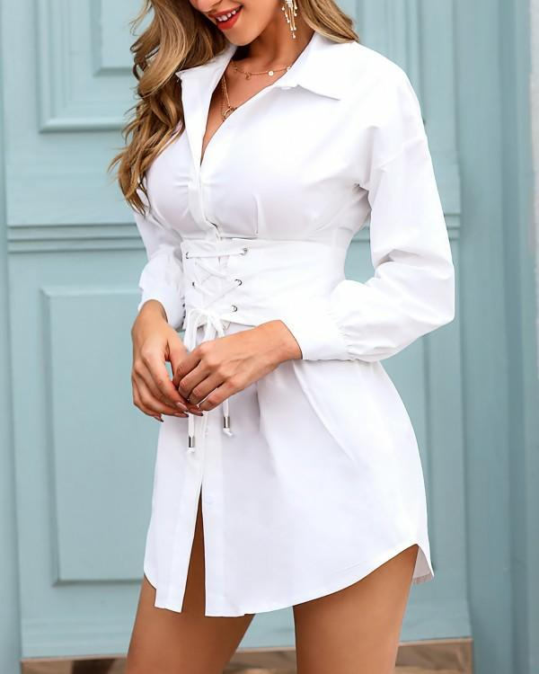 Which outfit of a dress with a collar seems the most interesting to you?