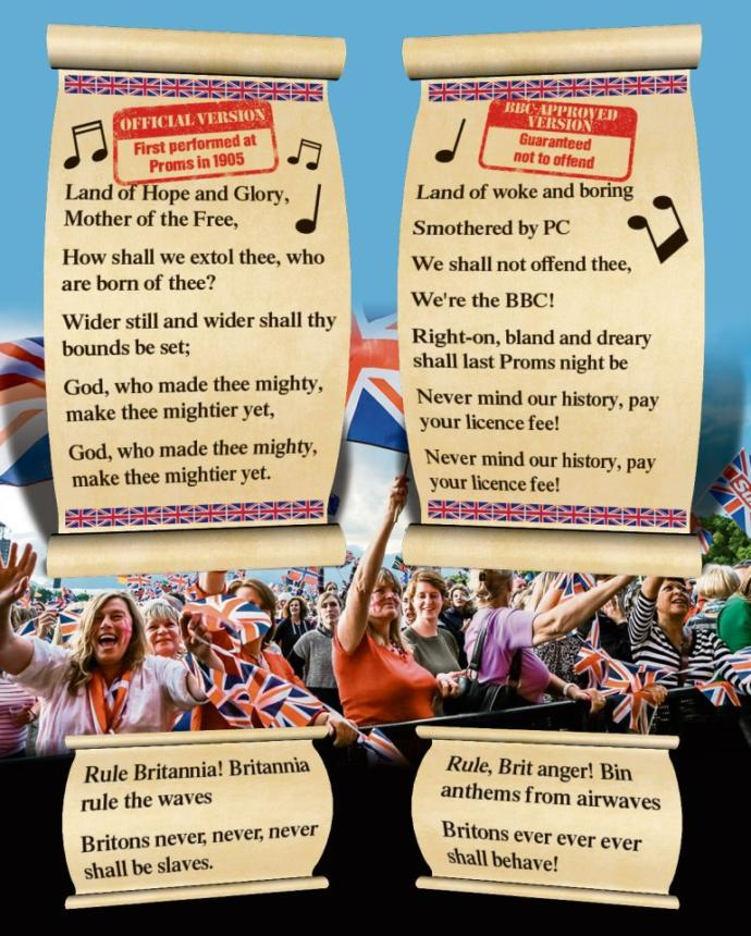 Thoughts on the BBC censoring national British songs & comparing Patriotic Brits to Nazis?