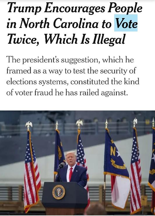 Is asking people to vote twice Illegal?