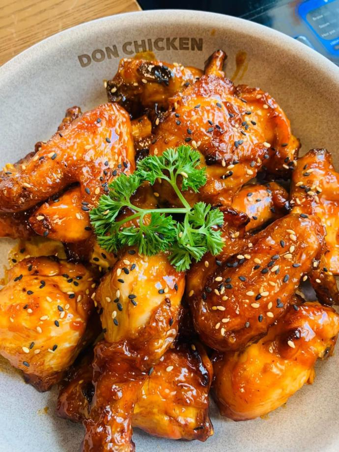 Honey glazed chicken. You can take the cilantro off if you dont want it