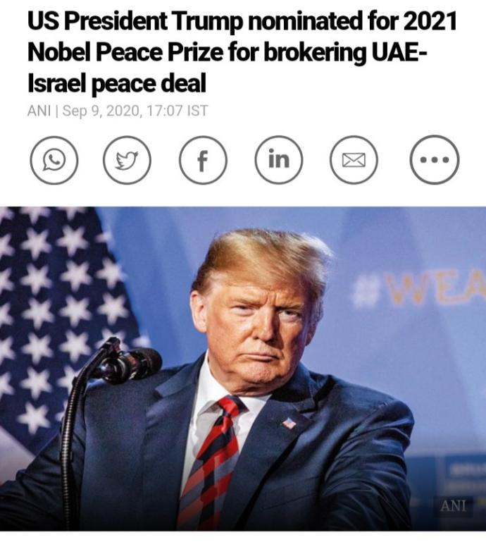 Trump nominated for Nobel Peace prize? Thoughts?