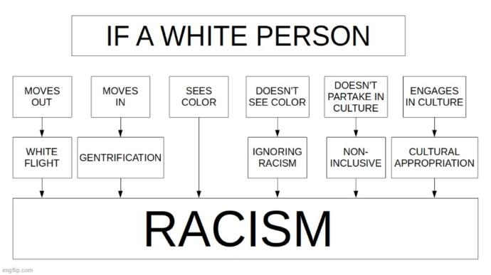 Do you agree with this diagram on what constitutes and qualifies a White Person being labeled a Racist?