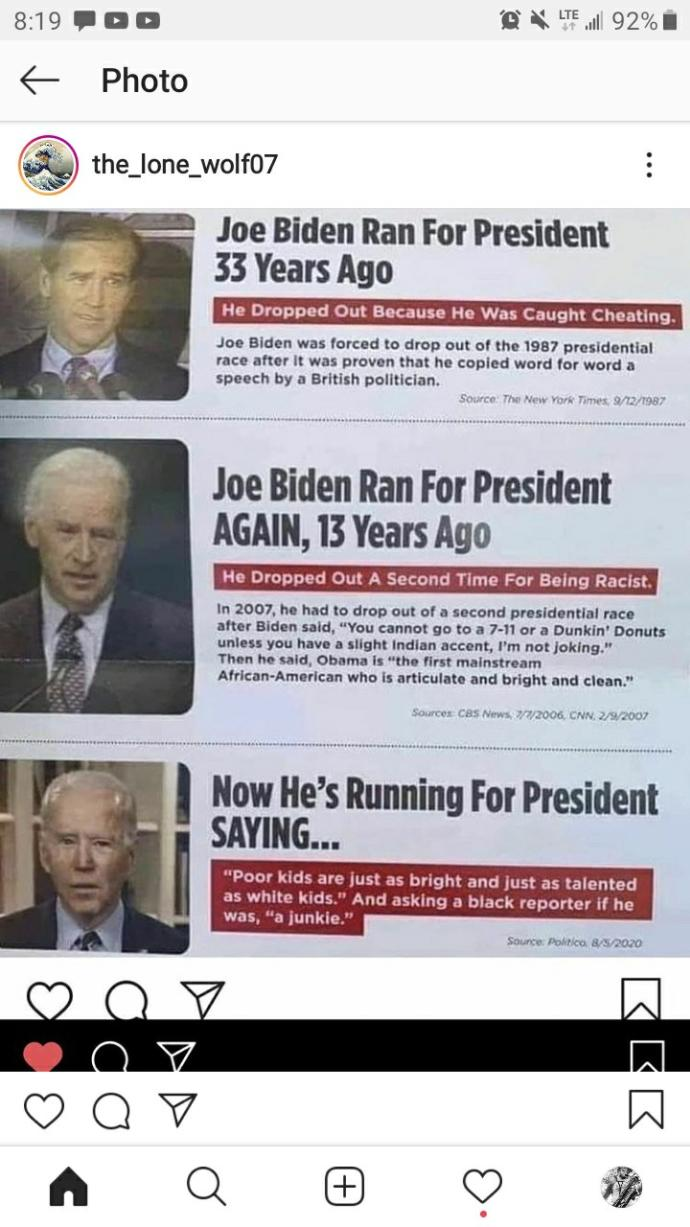 This isnt a question, but I dont understand how people can vote for Joe Biden?
