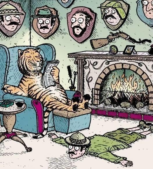 An alternate universe where tigers kept human trophies