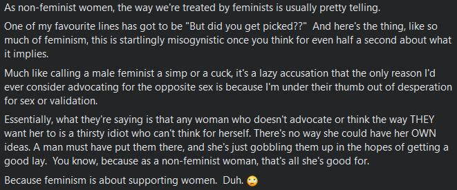 Why are feminists so hateful to women that are openly not feminist?