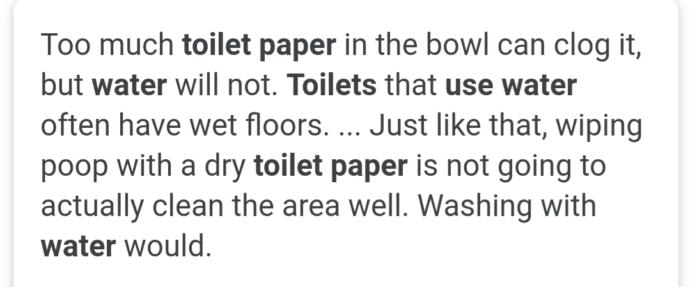 Why do people use toilet paper although its not very hygienic?