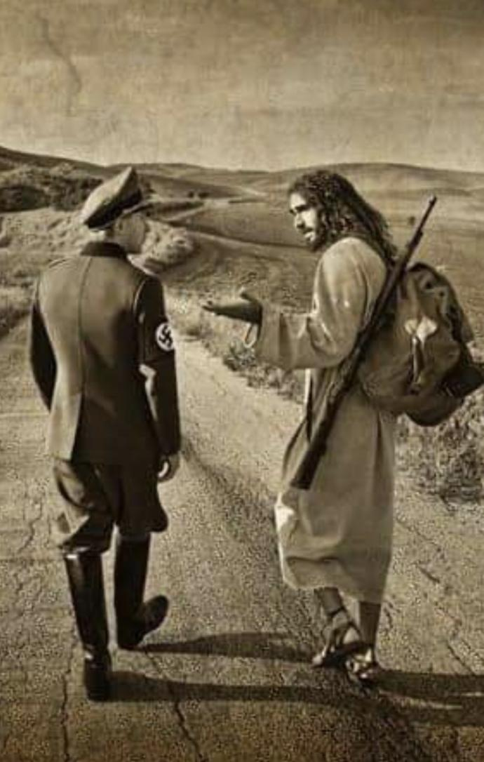 How would you interpret this picture with a look-alike of Jesus Christ wearing a weapon while talking to a nazi figure?