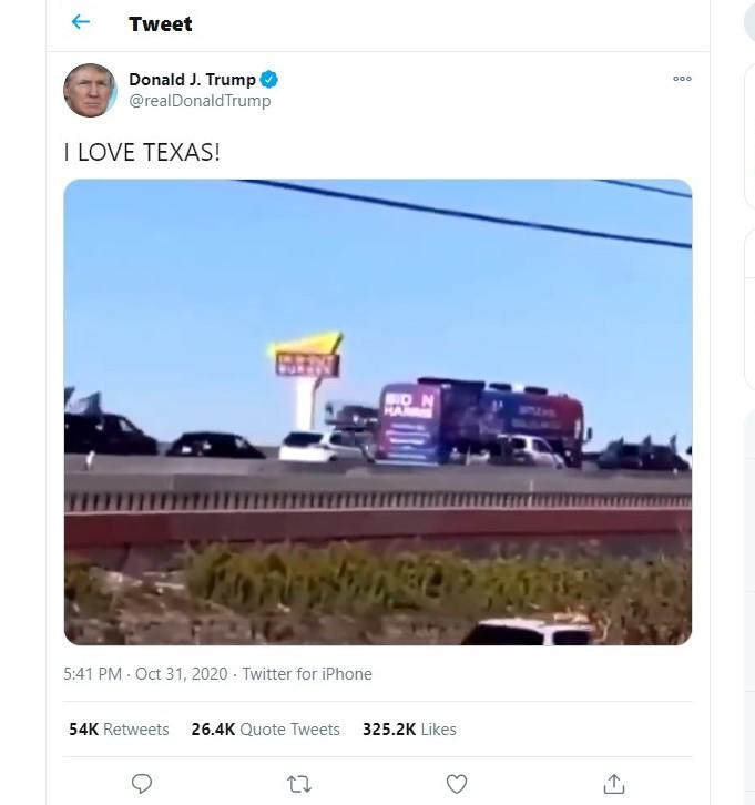 Trump supporters in trucks surrounded a Biden campaign bus in Texas and tried to run it off the road. Trump tweets I love Texas Is Trump insane?