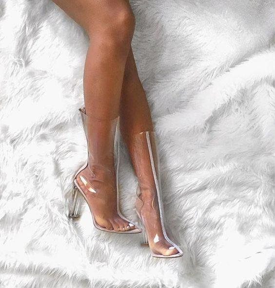 Which clear shoes look more sexy, heels or boots?