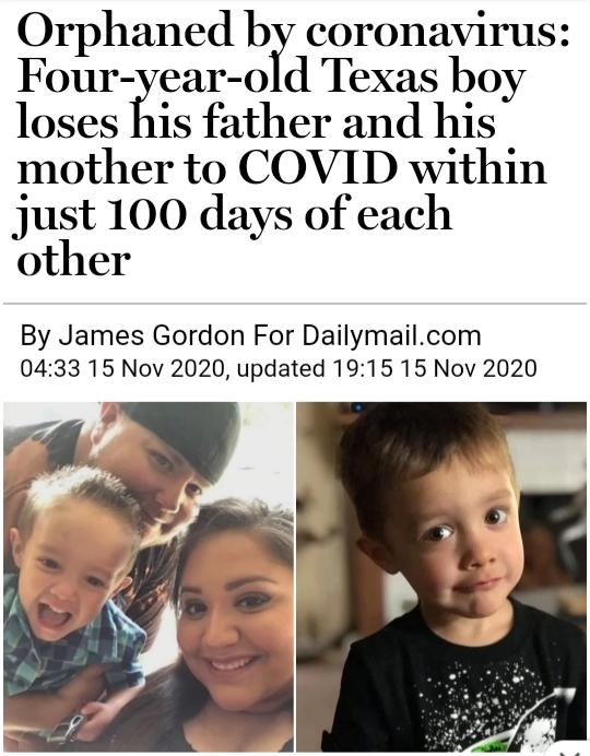 4 year old boy looses both parents to covid19 which thought comes to mind?