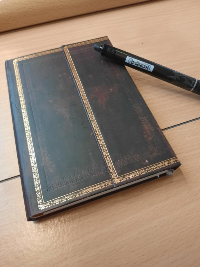 My journal. Small enough to fit the inner pocket of my coat for convinience.