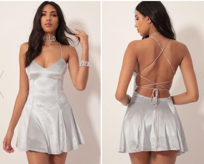 Silver velvet dress