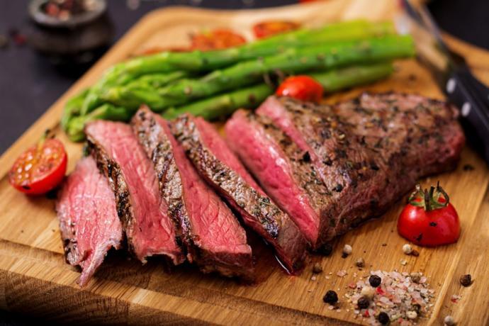 Perfect juicy medium rare steak