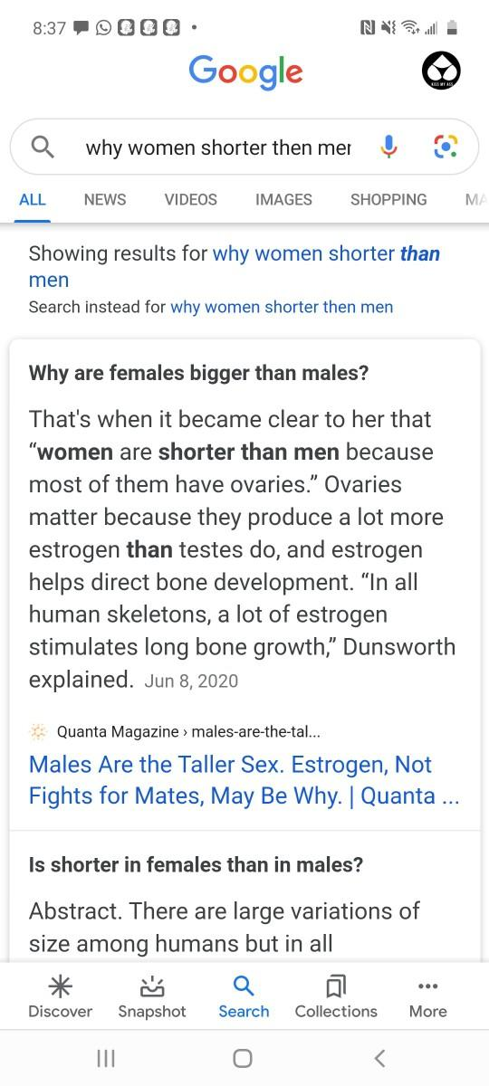 Is it sexist and offensive to women asking why they are shorter then men on google or any platform?