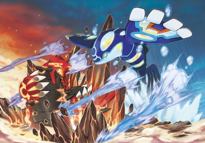 Groudon on the left, Kyorge on the right