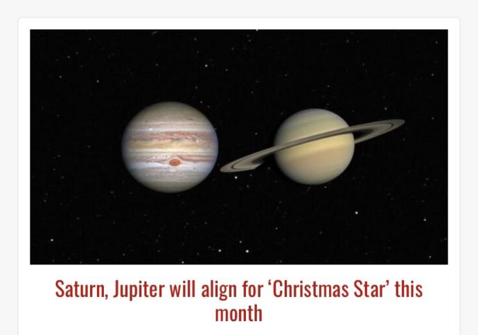 Saturn and Jupiter will align for Christmas Star this month! Are you excited for this? What do you think they will appear?