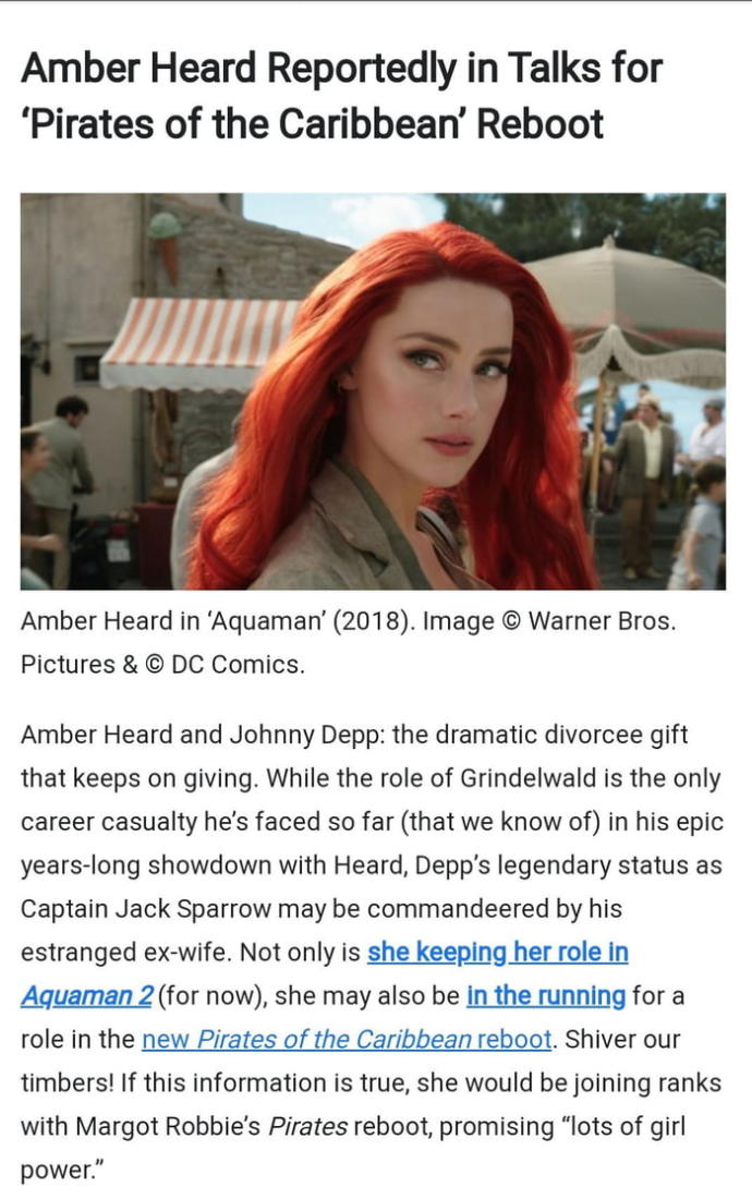 Amber Heard to star in new Piratesof the Caribbean movie. Why?