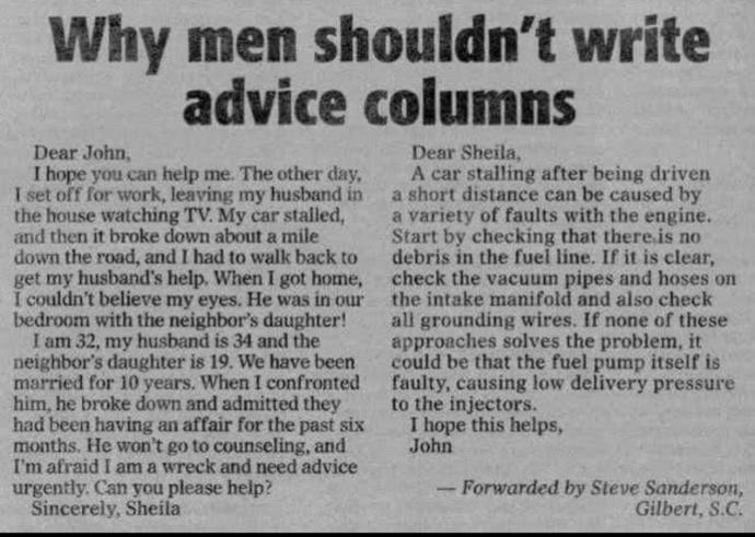 Who are better at writing advice columns?