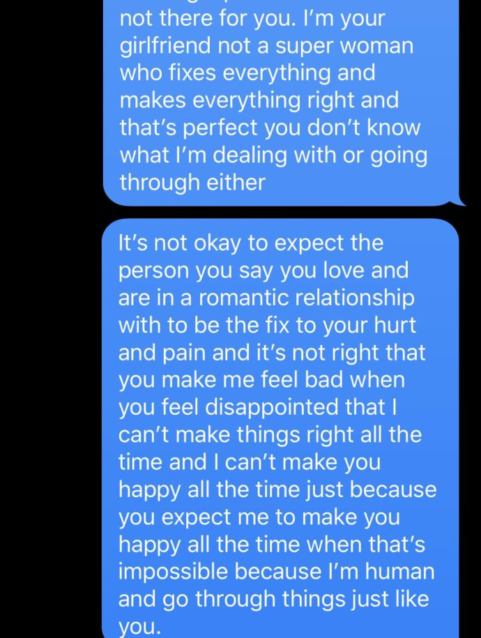 Is it wrong to make your significant other feel like they should be the fix to your hurt and pain?