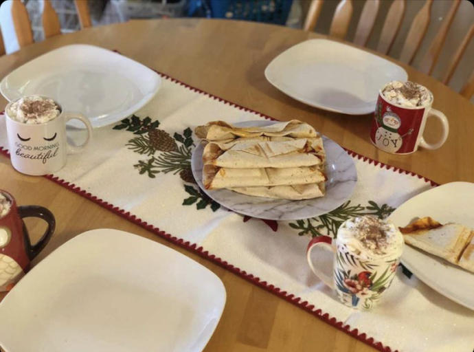 Just a random pic of breakfast that I prepared for my family today (turkey wraps and hot cocoa)