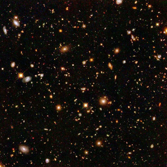 Hubble photo of deep space showing a small portion of the galaxies