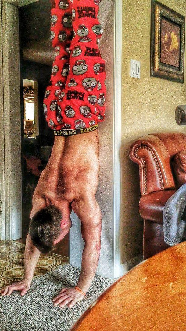 My boyfriend does handstand/stay upside down for about 5 minutes every day but does it actually help health?