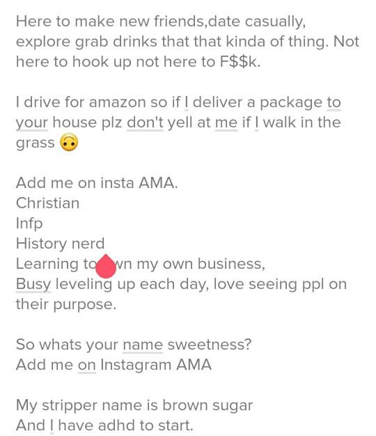 So this is legit my tinder bio, what advise can you give about apps?