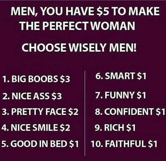 If you had 5 dollars to create your ideal partner, what would you spend it on?
