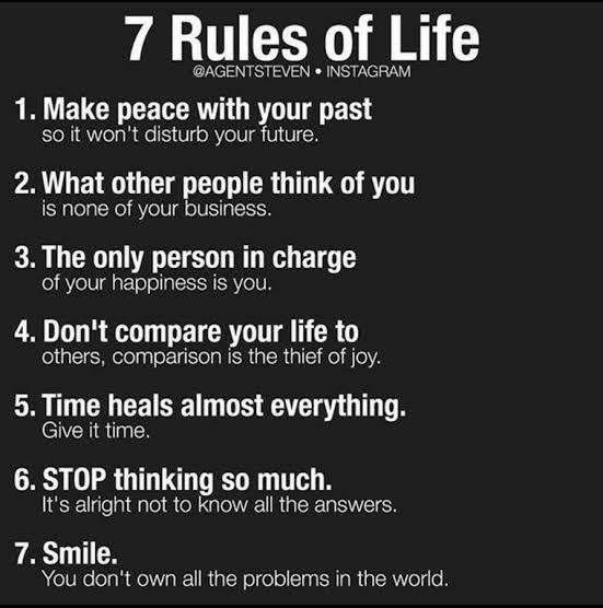 What are some of your specific rules that you have set in your life?