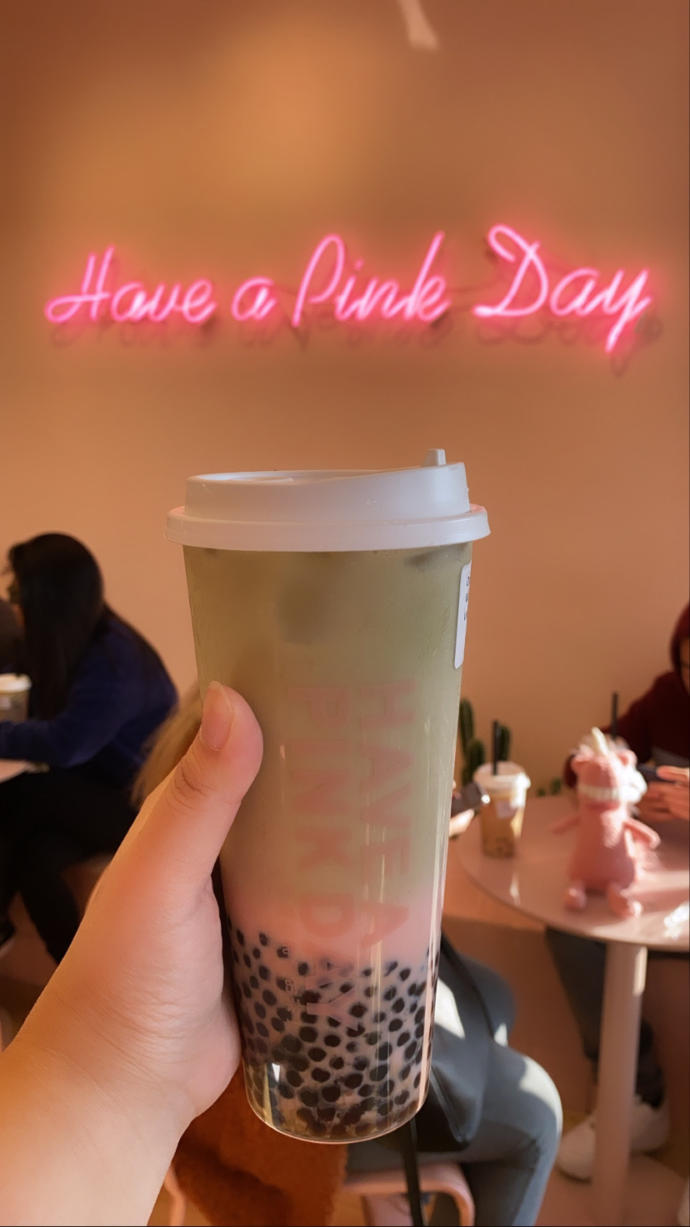 Its almost Wednesday... Have a Pink Day with Strawberry Matcha Milk Tea Boba! :3