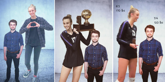 Is a very tall volleyball girl stronger than an average short guy?